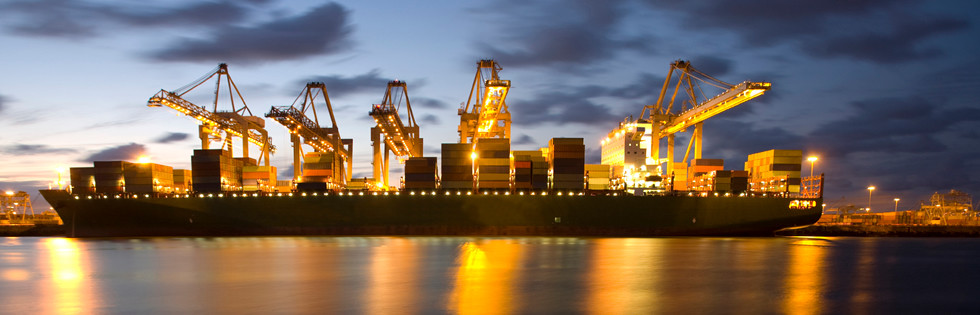Ocean freight loading at night